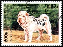 柬埔寨-大约1997年:邮票,打印在柬埔寨,显示Shar裴中国战斗的狗 库存照片