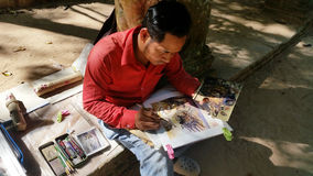 柬埔寨画家在吴哥窟 免版税库存照片