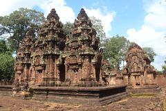 柬埔寨 Banteay Srey寺庙 暹粒省 暹粒市 免版税库存照片