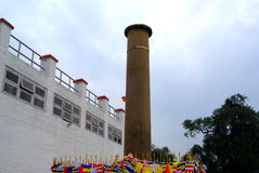 柱子在有唯一狮子资本Ashoka柱子的毗舍离发现了 免版税库存照片