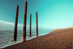 柱子在海 免版税库存照片