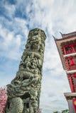 柱子雕刻龙 免版税库存图片