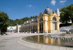 柱廊在Marianske Lazne,西波希米亚,捷克共和国 库存照片