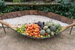 柳条小船运载的水果和蔬菜 图库摄影