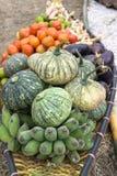 柳条小船运载的水果和蔬菜 库存图片