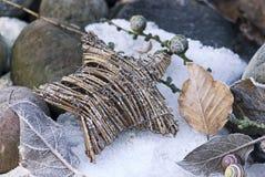 柳条星和干燥叶子在雪 免版税图库摄影