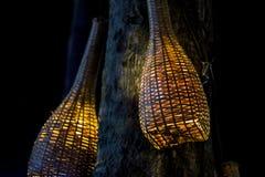 从柳条竹子的灯 免版税图库摄影