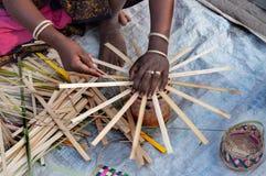 柳条筐,印地安工艺品公平在加尔各答 库存图片