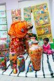柳条筐,印地安工艺品公平在加尔各答 库存照片