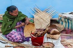 柳条筐,印地安工艺品公平在加尔各答 免版税库存图片