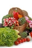 柳条篮子的蔬菜 库存图片