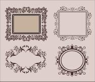 柳条线和老装饰元素在传染媒介 葡萄酒毗邻在集合的框架 页装饰 对婚姻的册页或 库存例证