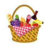 柳条野餐篮子 向量例证