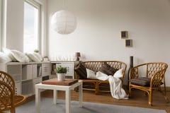柳条loveseat和椅子 图库摄影