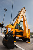 柴油挖掘机黄色 免版税库存图片