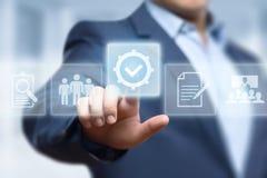 标准质量的控制证明保证保证互联网企业技术概念 免版税库存照片