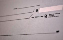 标准银行支票 免版税库存图片