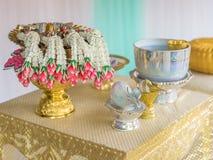 标尺NAM唱了-泰国传统婚礼 库存照片