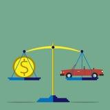 标度、汽车和金钱 库存图片
