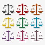 标度平衡象,正义被设置的标度象 向量例证