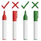 标志与反复查对的红色/绿色 库存图片