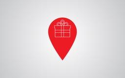 标志与礼物盒的地点象 图库摄影