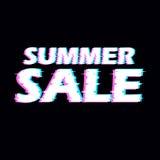 标志与被变形的小故障作用的夏天销售 向量例证