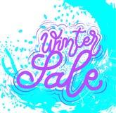 标志冬天销售,模板,手拉的类型 向量 库存例证
