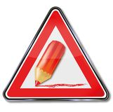 标志减少和红色铅笔 库存图片