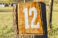 标志十二12高尔夫球孔 库存图片