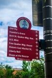 标志和标志杆在宾夕法尼亚,费城 免版税库存照片