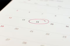 标志在日历的第14 免版税库存照片