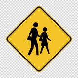 标志在透明背景的过路学生护送标志 向量例证
