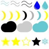 标志天气:风、下落、月亮、云彩、星和雪花 免版税库存照片