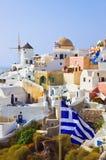 标志希腊oia santorini视图 免版税图库摄影