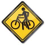 标志幻灯片循环和自行车 库存照片