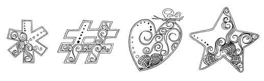 标志心脏星万代兰属徒手画的铅笔剪影字体 免版税库存图片