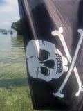 标志快活的海盗罗杰 免版税库存照片