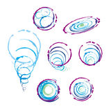 标志手工制造泡影的螺旋的汇集 库存图片