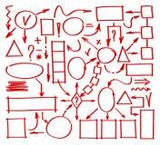 标志手拉的图 心智图乱画元素 元素结构和管理的被画的标志 com接地地球例证文本 免版税库存图片