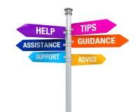 标志方向支持帮助打翻忠告教导协助 库存图片