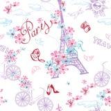 巴黎标志无缝的样式 浪漫旅行在巴黎 向量 免版税库存图片