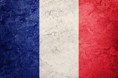 标志法国grunge 与难看的东西纹理的法国旗子 免版税库存图片