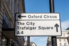 标志牛津马戏和特拉法加广场 库存照片