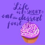 标志生活是短小首先吃点心与蛋糕的图片 向量 向量例证