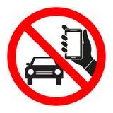 标志禁止谈在电话,当驾驶汽车时 库存图片