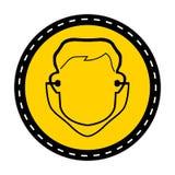 标志穿戴在白色背景,传染媒介例证的耳塞标志 库存例证