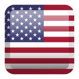 标志美国 方形的光滑的按钮 库存图片