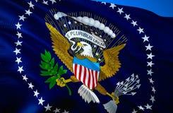 标志美国 3D挥动的旗子设计 美国的国家标志,3D翻译 美国National总统颜色 荷兰 免版税库存图片
