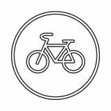 标志自行车象,概述样式 向量例证